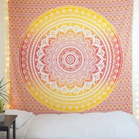 Queen Size Multi Colored Ombre Mandala Tapestry Wall Hanging on RoyalFurnish.com