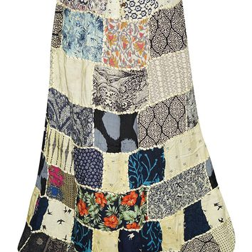 Womens Skirt with Vintage Printed Patchwork Skirts Gift For Her ...L