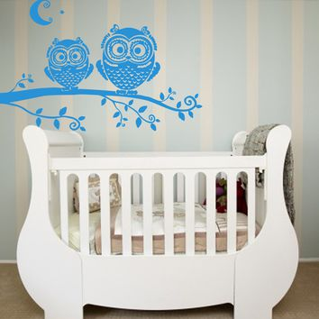 ik336 Wall Decal Sticker Decor owl tree twig kids bedroom