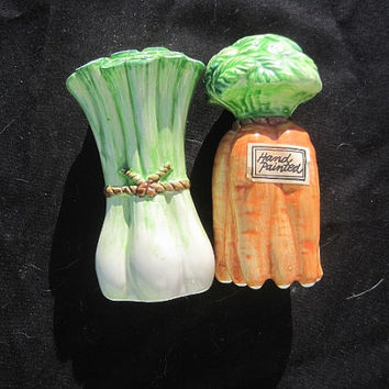 "Vintage 1980s Fitz & Floyd ""Vegetable Garden"" Salt and Pepper Set Carrot and Celery Stalks"