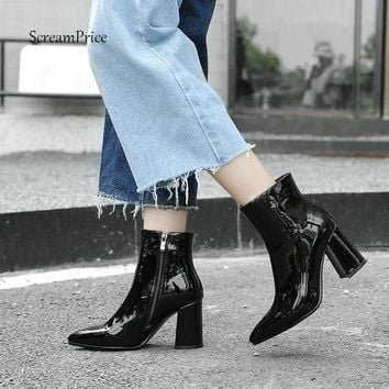 Fashion Patent Leather Ankle Boots