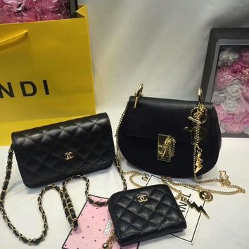 Year-End Promotion 3 Pcs Of Bags Combination (Chloe Bag ,Chanel Mid Bag ,Chanel Wallet)