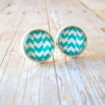 W A V E S - Teal Blue Green and White Chevron Triangle Geo Waves Photo Glass Cab Circle Silver Plated Post Earrings