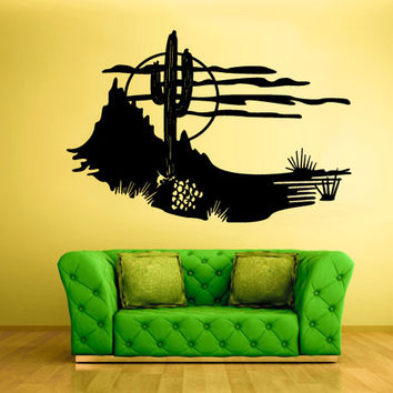 rvz1554 Wall Decal Vinyl Sticker Decals Skyline Cactus Mexico Desert Sun