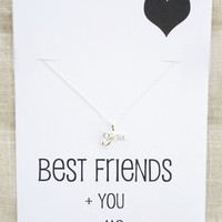 Best Friends Gift Love you Heart Pendants Rhinestones Silver Toned Woman Fashion Necklace