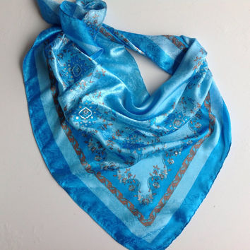 Blue Paisley scarf, Satin bandana, Office  Neckerchief, Sky Blue Floral scarf, Holiday gift for her, Chemotherapy scarf, Gift for Nurse