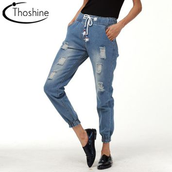 Thoshine 2017 Spring Autumn Women Ripped Hole Jeans Female Vintage Denim Pants Lady Elastic Waist Jogger Trousers Plus Size 5XL