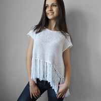 FREE SHIPPING Pure cotton summer cropped top Womens knit top White Crop tank top Festival top Fringed top Girl tank Light summer knitwear