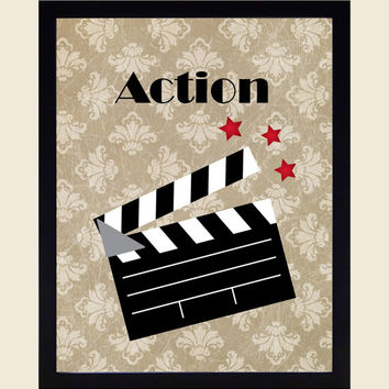 Action Showtime Popcorn Movies Home Theater Art Prints CUSTOMIZE YOUR COLORS, 8x10 or 11x14 Prints, Movies, Home Theater Wall Decor Wall Art