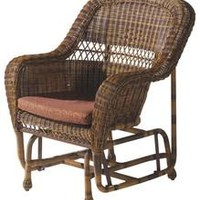 W Unlimited Wicker Gliding Chair Natural Brown Outdoor Patio Furniture Home Decor Resin Rattan