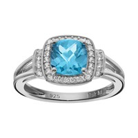 Blue Topaz & Lab-Created White Sapphire Sterling Silver Square Halo Ring