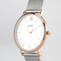 Cluse | Cluse Minuit Rose Gold & Silver Mesh Watch CL30025 at ASOS