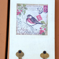 Vintage Keys Wall Hook Home Decor Key Towel Hook Decoupaged Bird Print