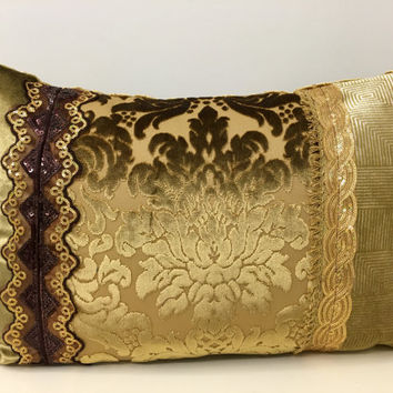 Gold Velvet Pillow Cover,Velvet Pillow,Throw Pillow,Lumbar Pillow,Decorative Pillows,Boho Pillows,Bohemian Pillow,Patchwork Pillow Covers