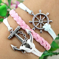 Pink - light blue cotton rope bracelets - personality anchor bracelet - silver anchor bracelet - friendship gift for girlfriend and BFF
