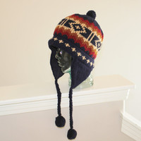 Ready to ship/ Color of Fall/100 Percent WOOL Knitted line Fleece Hat with pom poms
