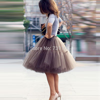 Free Shipping New 2016 Tutu Tulle Skirts Summer Midi skirt Women Fashion Party Design saias femininas formal faldas cortas