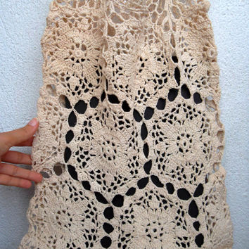 Vintage 70s Off White Lace Tote, Hand Crochet Shopper Bag, Delicate Flower Market Shopper,Sheer Beige Ladies Purse, Boho Summer Lace Handbag