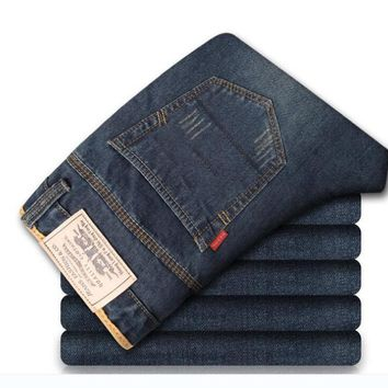 Sales fiery men popular fashion new jeans men's straight casual pants wash simple male long trousers cotton denim jeans