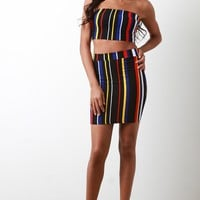 Striped Strapless Two Piece Dress