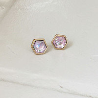 Sparkling Hexagon Studs