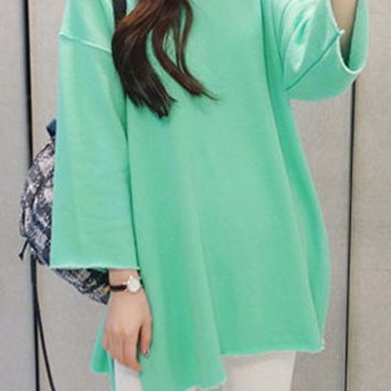 Casual Round Neck Long Sleeve Solid Color Loose-Fitting Sweatshirt