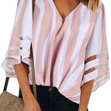 Pink Striped 3/4 Bell Sleeve V Neck Lace Patchwork Blouse