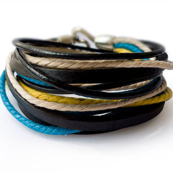 Black Leather Wrap Bracelet With Colorful Ropes and Silver Hook