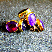 Stunning 18k gold silver and amethyst studs-Amethyst stud earrings- 18k gold studs- Silver and gold earrings-Women's artisan earrings
