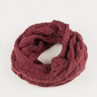 Holey Knit Infinity Scarf - Plum
