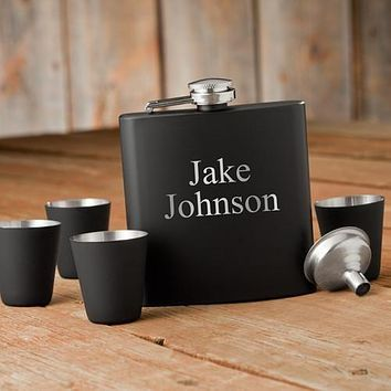 Personalized Flasks - Shot Glass - Gift Set - Black - Groomsmen Gifts