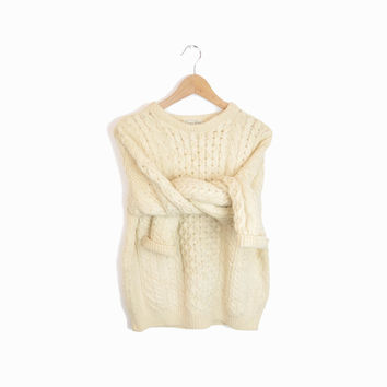 Vintage Cable Knit Fisherman Sweater in Cream Wool - women's m