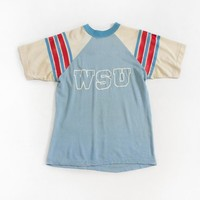 Vintage 1970s WSU Jersey - CHAMPION Blue Bar T-Shirt Knit State College Football Tee - Small
