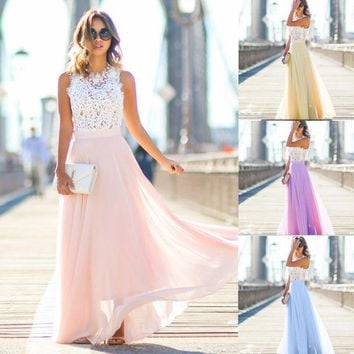 New 2017 Summer  Women Long Lace Chiffon Evening Formal Party Ball Gown Prom Brides Maxi Dress Boho Casual Woman Clothes