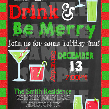 CHRISTMAS PARTY INVITATION - Eat, Drink, & Be Merry Invitation - Holiday Party Invite - Mingle And Jingle Holiday Cocktail Party chalkboard
