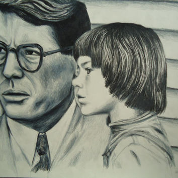 Original To Kill A Mockingbird artwork, hand drawing of Scout and Atticus Finch from the film, made with colored pencil
