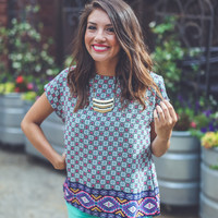 Ornate Summer Top in Navy