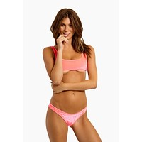 Lily Velvet Scoop Neck Underboob Bikini Top - Pink