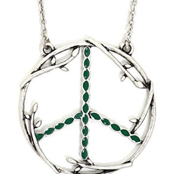 Peace Sign Necklace Silver Tone Branches Flower Power Hippie Anti War Pendant NT18 Fashion Jewelry
