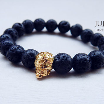 Black lava stone gold skull stretch bracelet Men's stretch bracelet Rocker black bracelet Gold skull bracelet Unisex men women lava bracelet