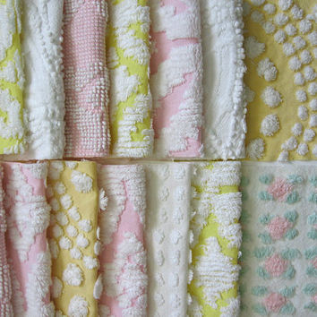 chenille fabric, sweet pastel cottage mix Chenille Bedspread squares- 20 precut 6 inch squares / Vintage Chenille