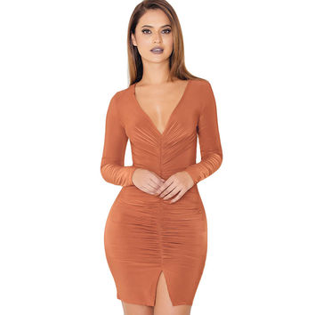 6 Colors Sexy Women V-neck Pleated Bandage Dress Bodycon Clubwear 2016 New Autumn Mini Dresses Solid Split Party Vestidos M0674
