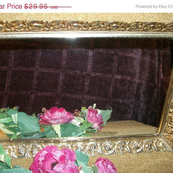 Mothers Day Sale Mirrored Vanity Tray, Perfume Tray, Ornate Gold Frame, Dressing Table, Dresser Top, Scrolls, Flowers, Hollywood Regency ,V