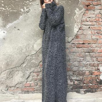 Gray Dress, Maxi Kaftan Dress, Long Sleeved Dress, Maxi Kaftan, Turtleneck Dress, Fall Winter Clothing, Knit Dress, Oversized Dress