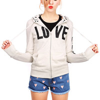 Love Patch Hoodie Jacket