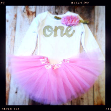 Girls Birthday outfit Petal pink tutu with long sleeve gold glitter one Onesuit- girls 1st Birthday outfit Valentine's Day girls first birthday outfit.
