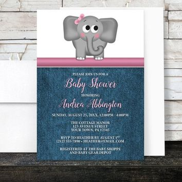 Elephant Baby Shower Invitations Girl - Rustic Denim Cute Elephant Pink with Blue - Girl Baby Shower - Printed Invitations