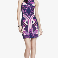 PLACED AZTEC PRINT SHEATH DRESS - PURPLE from EXPRESS