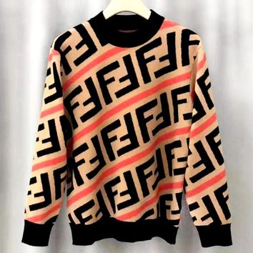 Free shipping-Fendi new round neck sweater double F hit color striped jacquard sweater
