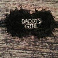 Black Shabby Rhinestone Daddy's Girl Baby Headband